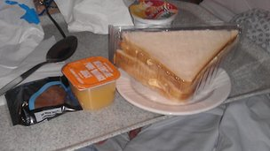 Food given to Joan Parker in Milton Keynes Hospital