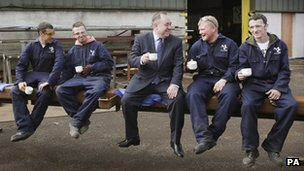 First Minister Alex Salmond pictured with Millar Callaghan Engineering employees