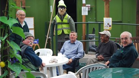 Taking a break at Walsall Road Allotments by Betty Farruggia