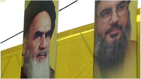 Pictures of Ayatollah Khomenei (left) and Sheikh Hassan Nasrallah
