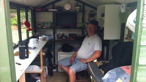 Jim Massey in his shed