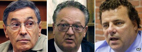 "From left to right, former Bulger associates Stephen ""The Rifleman"" Flemmi, hitman John Martorano and Kevin Weeks"