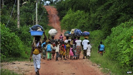 Displaced villagers in Ivory Coast - June 2012