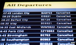 Departures board with cancelled flights