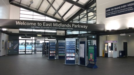 The empty concourse at East Midlands Parkway