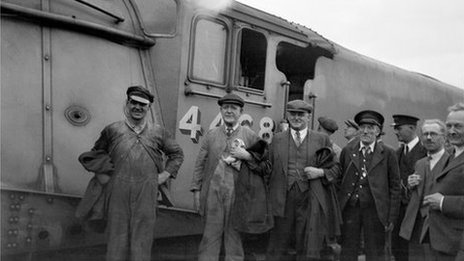 Crew of the Mallard after the record run on 3rd July 1938