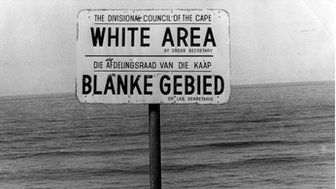 Apartheid white area sign