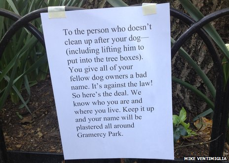 A note to a dog owner threatening to expose the fact that they don't pick up their dog mess