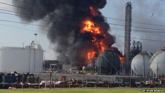 Chemical plant on fire in Louisiana