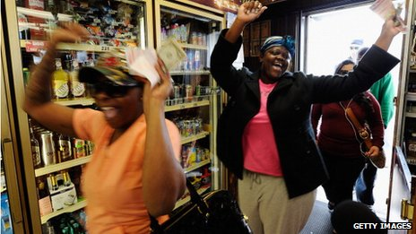 Women celebrate lottery win