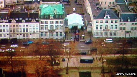 An aerial view of the US embassy in Brussels, with park, pictured in 2005