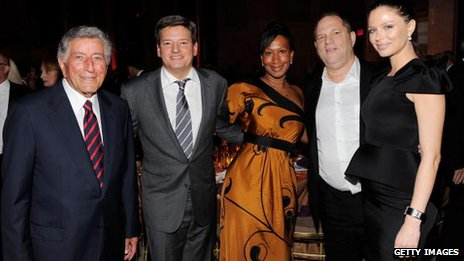 Tony Bennett, Ted Sarandos (Netflix), Nicole Avant (centre), Harvey Weinstein and Georgina Chapman