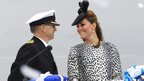 Duchess of Cambridge with ship captain Tony Draper