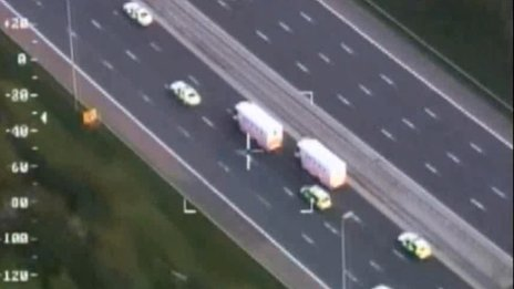 Aerial shot of police convoy to Dale Cregan trial