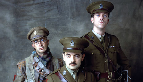 Tony Robinson, Rowan Atkinson and Hugh Laurie in Blackadder Rides Forth