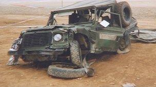 Crashed Land Rover