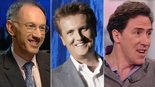 (Left to right): Michael Moritz, Aled Jones, Rob Brydon