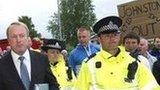 Fans protest to Kilmarnock chairman Michael Johnston