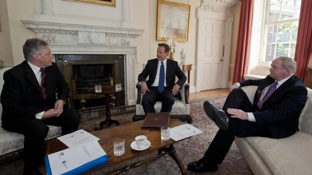 Prime Minister David Cameron (centre) meets with Northern Irelands First Minister Peter Robinson (left) and Northern Irelands Deputy First Minister Martin McGuinness (right) in 10 Downing Street