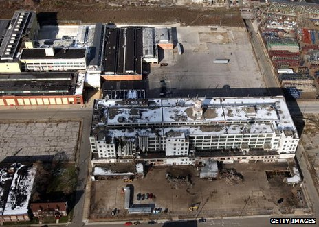 Aerial view of derelict factory in Detroit