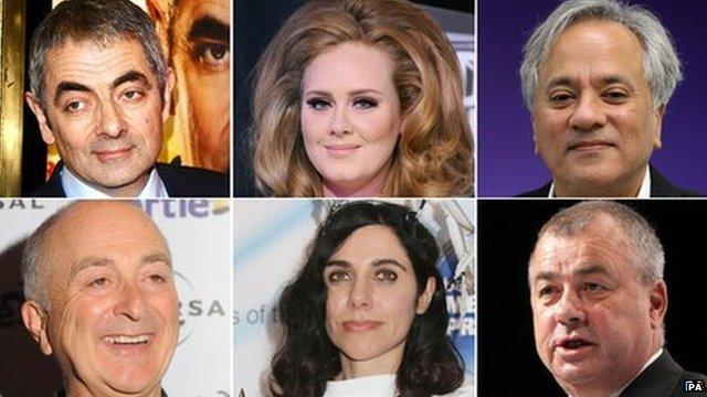 Birthday Honours recipients (clockwise from top left) Rowan Atkinson, Adele, Anish Kapoor, Brendan Barber, PJ Harvey, Tony Robinson