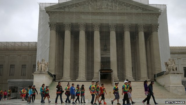 Children walking past Supreme Court