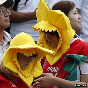 Wales fans console themselves after the second test defeat in Japan