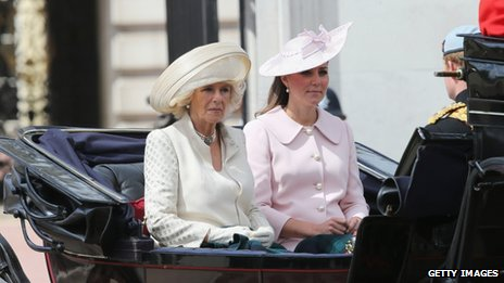 Camilla, Duchess of Cornwall, Catherine, Duchess of Cambridge and Prince Harry during the annual Trooping the Colour Ceremony at Buckingham Palace