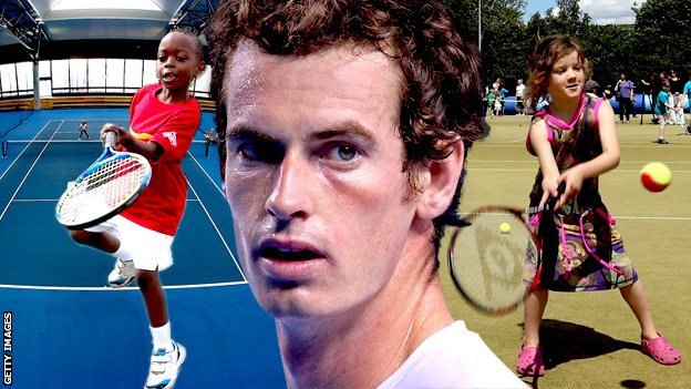 Andy Murray and two young tennis players