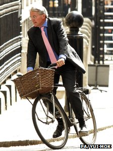 Andrew Mitchell on bike