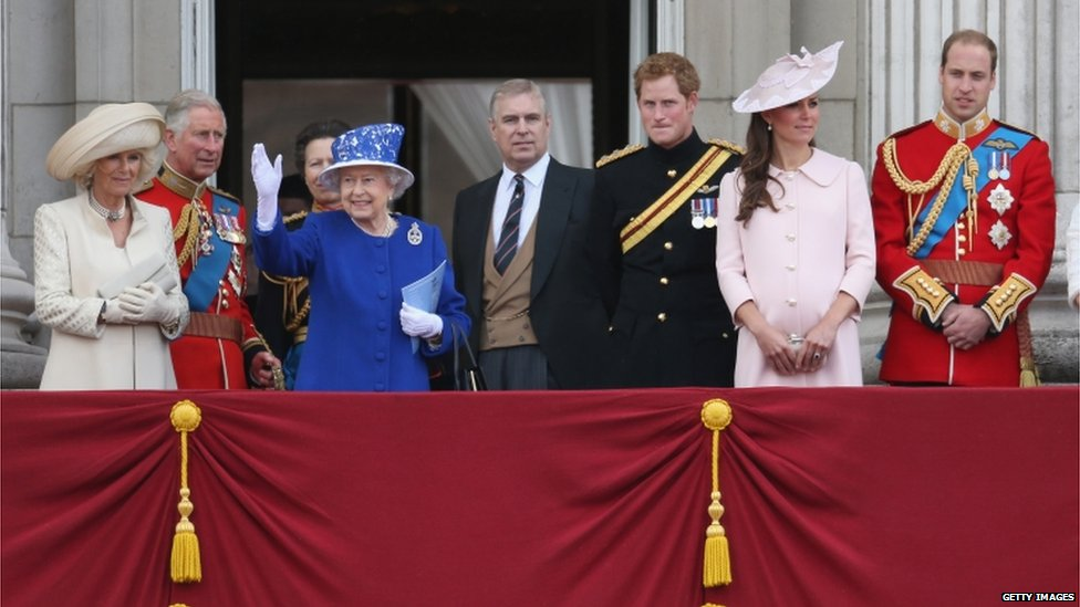 In pictures trooping the colour bbc news for Queen elizabeth balcony