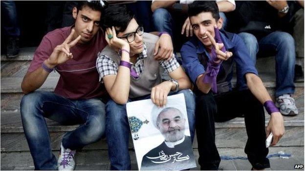Supporters of Hassan Rouhani in Tehran, 15 June