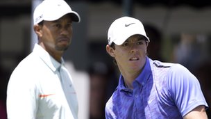 Tiger Woods (left) and Rory McIlroy