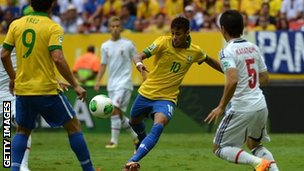 Neymar scores his blistering early goal for Brazil
