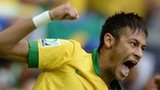 Neymar celebrates his third-minute goal for Brazil