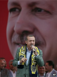Recep Tayyip Erdogan addresses a rally in Ankara