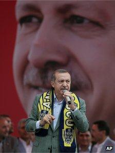 Recep Tayyip Erdogan addresses a rally in Ankara