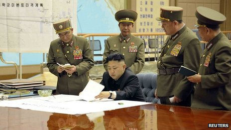 North Korean leader Kim Jong-un meets generals from the Korean People's Army Strategic Rocket Forces (29 March 2013)