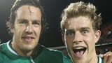 Mike McCarthy and Andrew Trimble of Ireland