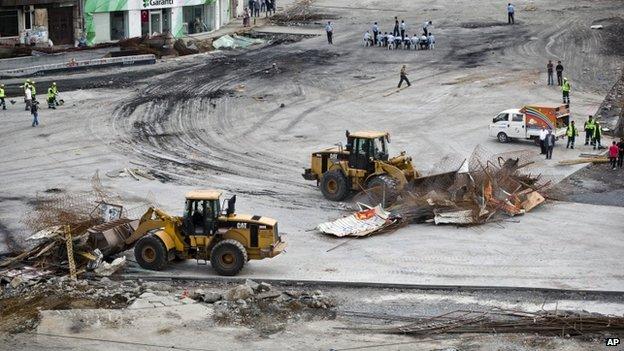 Bulldozers work in Taksim Square, Istanbul, 16 June