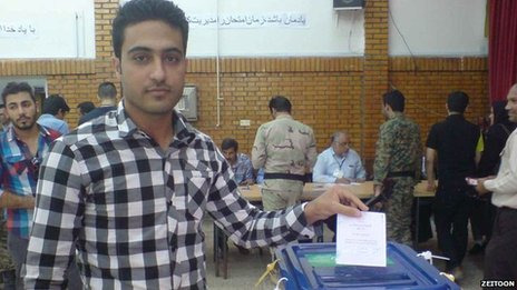 Farhad posts his election ballot in Iran's presidential elections