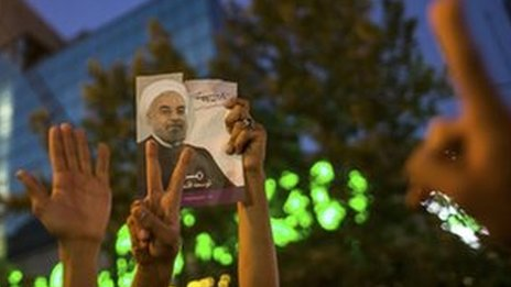 Rouhani supporters celebrate his victory in Tehran