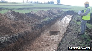 A trench dug for archaeological investigations