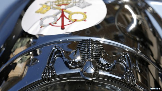 The Vatican's coat of arms is stuck on a Harley Davidson on St Peter's Square, 16 June