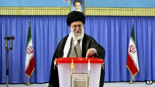 Supreme Leader Ayatollah Ali Khamenei casts his ballot in the presidential election