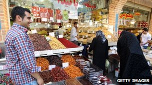 Iranians shop at the main bazaar in Tehran