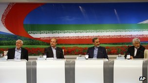 Presidential candidates (from left) Mohammad Gharazi, Mohammad Bagher Qalibaf, Ali Akbar Velayati and Saeed Jalili, attend a TV debate