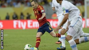Andres Iniesta in action against Uruguay