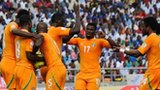 Ivory Coast celebrate one of their goals in Tanzania