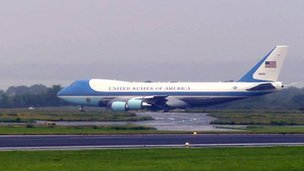 The Presidential plane, Air Force One, has just landed at Belfast International Airport